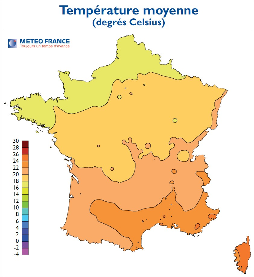 carte de france temperature