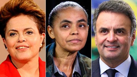 Dilma Rousseff, Marina Silva et Aécio Neves