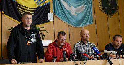 La conférence de presse à Slaviansk le 27 avril 2014