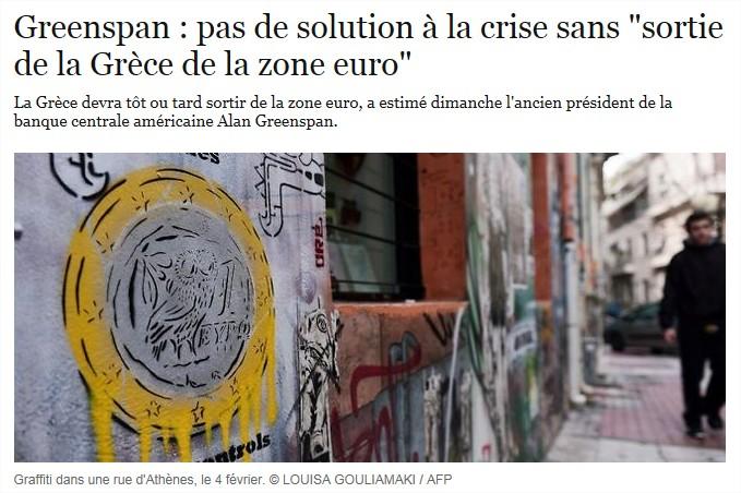"""Greenspan : pas de solution à la crise sans """"sortie de la Grèce de la zone Euro"""""""