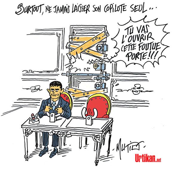Delamarche, Sapir, Béchade, dernières infos économie UE + caricatures actus 150330-valls-PS-copilote-mutio