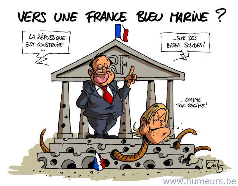 Delamarche, Sapir, Béchade, dernières infos économie UE + caricatures actus Humeur_1121_France-Bleu-Marine-Hollande-Le-Pen1