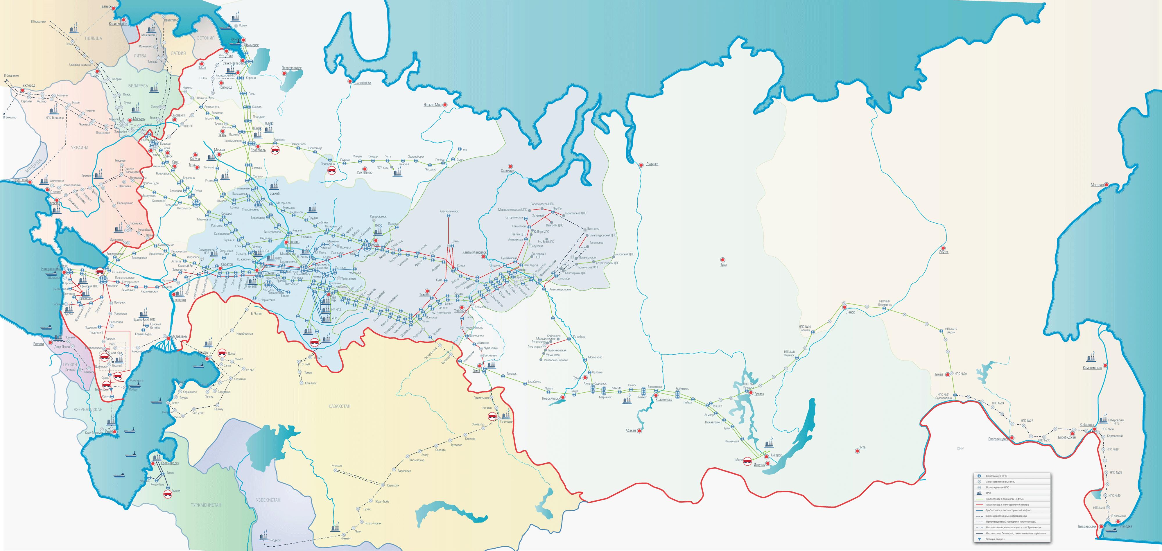 Oléoducs, stations de pompage et raffineries de Russie