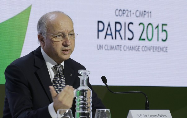 French Foreign Affairs Minister Laurent Fabius, President-designate of COP21, attends a news conference during the World Climate Change Conference 2015 at Le Bourget