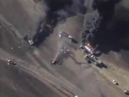 Frame grab shows air strikes carried out by Russia's air force at unknown location in Syria