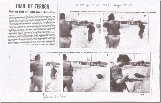 « Trail of terror. Riots cut blood-wet swath across North Africa », Life, 5 septembre 1955 (édition américaine) et 3 octobre 1955 (édition internationale), pp. 24 25.