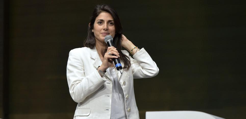 La candidate M5S à la mairie de Rome, Virginia Raggi, lors d'un meeting à Rome le 10 juin 2016. (Luigi Mistrulli/SIPA)