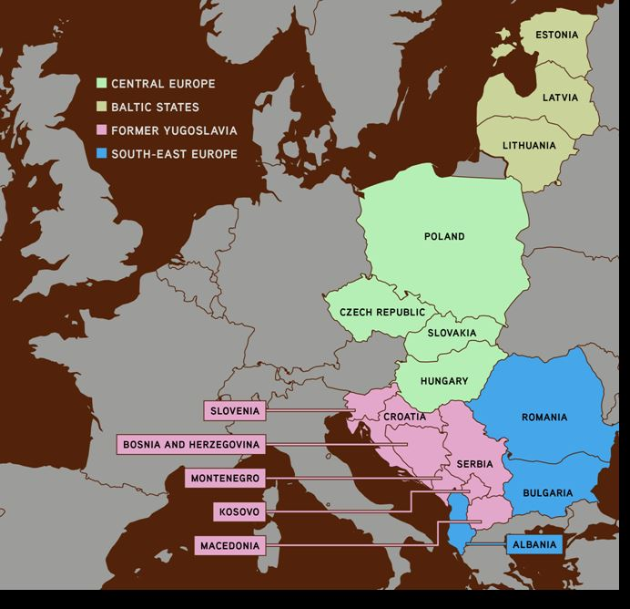 Figure 1 – Carte de l'Europe centrale et orientale. Source : KKR.