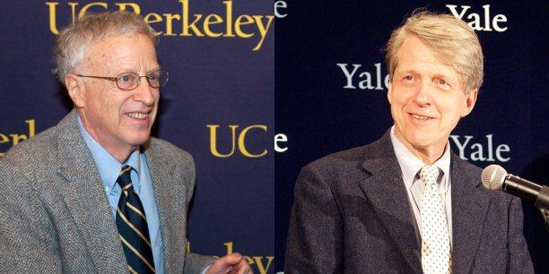 George Akerlof (à gauche), prix Nobel d'économie 2001, est professeur d'économie à Berkeley. Robert Shiller, prix Nobel d'économie 2013, est professeur d'économie à Yale. (Crédits : Reuters)