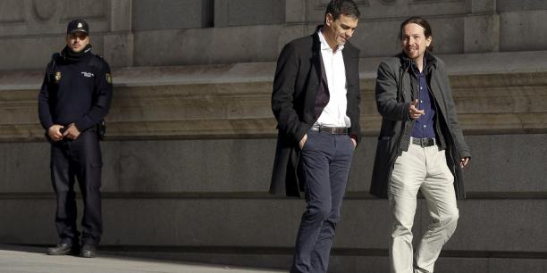 L'Espagne aura-t-elle après le 26 juin un gouvernement de gauche avec Sanchez (PSOE) et Iglesias (Podemos) ? (Crédits : Reuters)