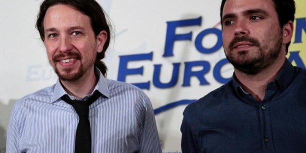 Pablo Iglesias et Alberto Garzon, les deux dirigeants de la gauche radicale espagnole, seraient les vainqueurs du scrutin du 26 juin. Mais gouverneront-ils ? (Crédits : © Andrea Comas / Reuters)