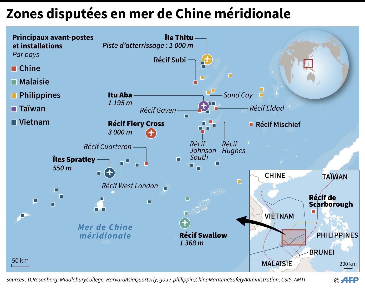 CARTE. aZones disputées en mer de Chine méridionale