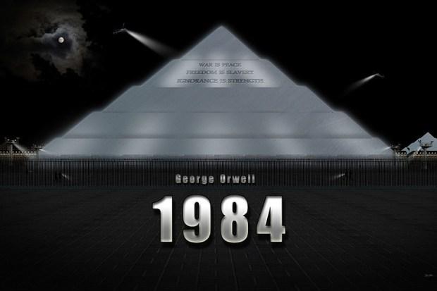 Représentation du ministère de la Vérité, l'un des lieux du roman de George Orwell : « La guerre, c'est la paix. La liberté, c'est l'esclavage. L'ignorance, c'est la force. ». Wikimédia Commons, CC BY
