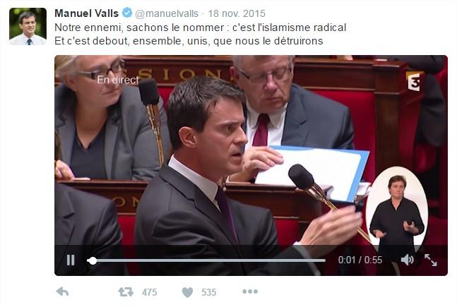 manuel valls twitter terrorisme velléitaire