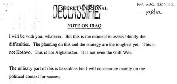 Photo non datée publiée par l'enquête sur l'Irak d'une note sur l'Irak envoyée par l'ancien premier ministre Tony Blair au président des États-Unis George W. Bush. | PA