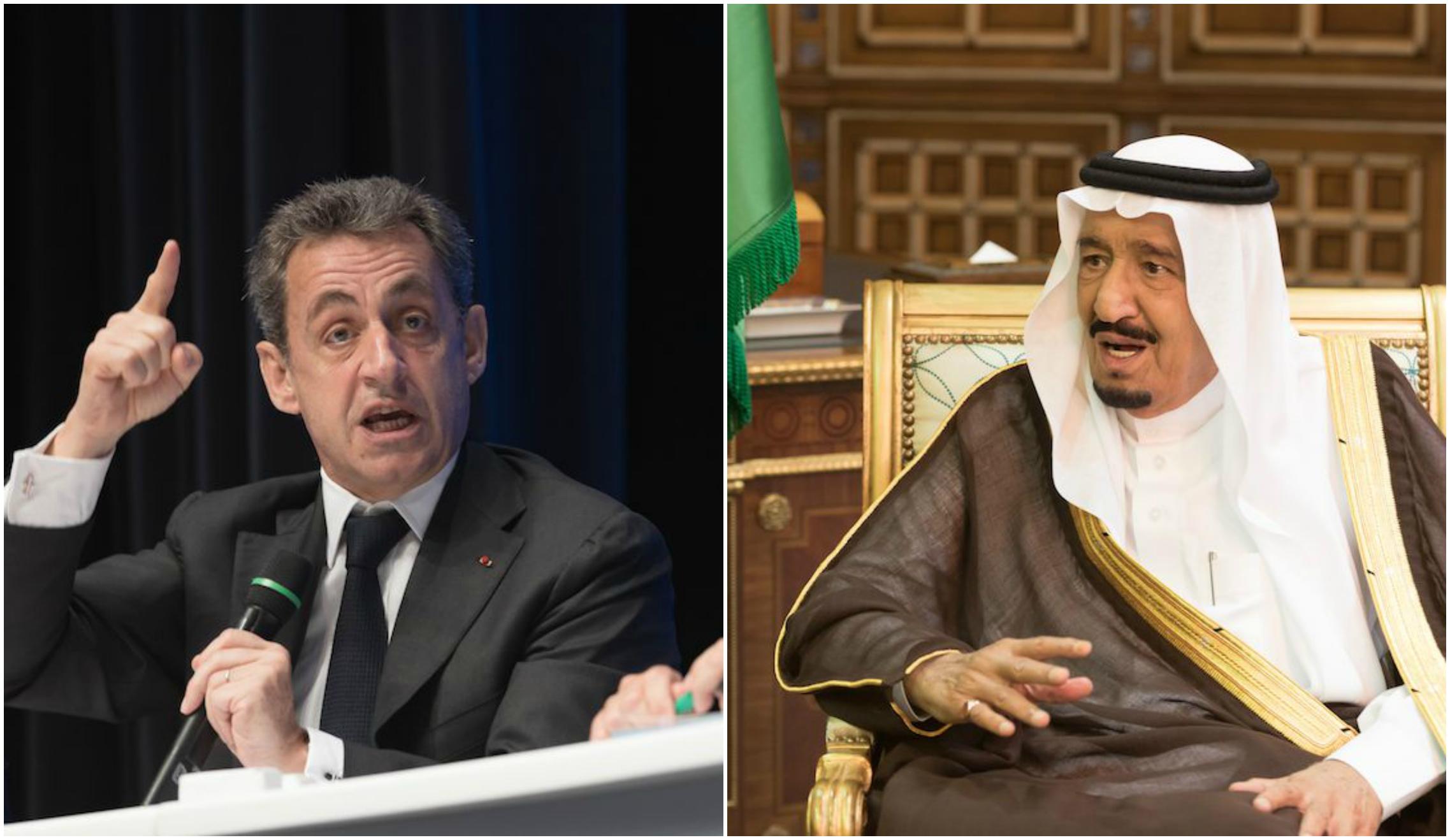 Nicolas Sarkozy et Salmane Abdelaziz Al Saoud. - Montage/SIPA