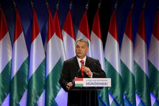 Le premier ministre hongrois, Viktor Orban, lors de son discours sur l'état de la nation, à Budapest, le 28 février. LASZLO BALOGH / REUTERS