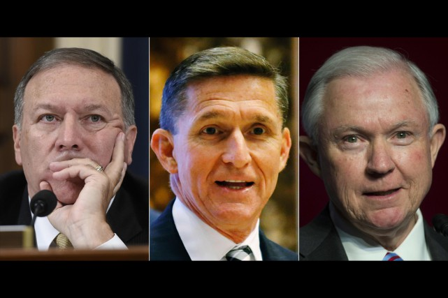 De gauche à droite: Mike Pompeo, Michael Flynn et Jeff Sessions. PHOTO AFP