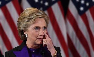 Hillary Clinton reconnaissant sa défaite, lors d'un discours à New York, le 9 novembre 2016. — JEWEL SAMAD / AFP