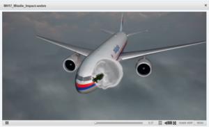 La reconstitution par la Commission néerlandaise de sécurité de l'endroit où elle pensait que le missile avait explosé près du vol 17 de la Malaysia Airlines le 17 juillet 2014.
