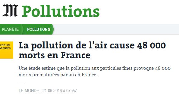 La pollution de l'air cause 48 000 morts par an en France