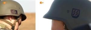 Symboles nazis sur les casques portés par les membres du bataillon Azov d'Ukraine, (tels qu'ils ont été filmés par une équipe de cinéma norvégienne et montrés à la télévision allemande)
