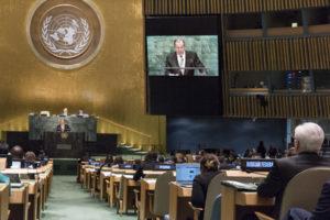 Sergey V. Lavrov, Ministre russe des Affaires étrangères, s'adresse à l'Assemblée Générale des Nations Unies le 23 septembre 2016 (Photo ONU)