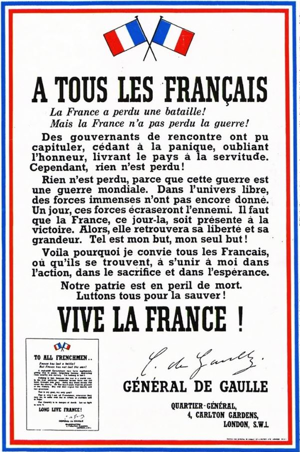 18 juin 2018, TF1 13 heures, «zappe» l'appel du général de Gaulle, mais diffuse des reportages qui auraient pu passer le lendemain!  dans Non classé appel-18-juin-1940-de-gaulle-5