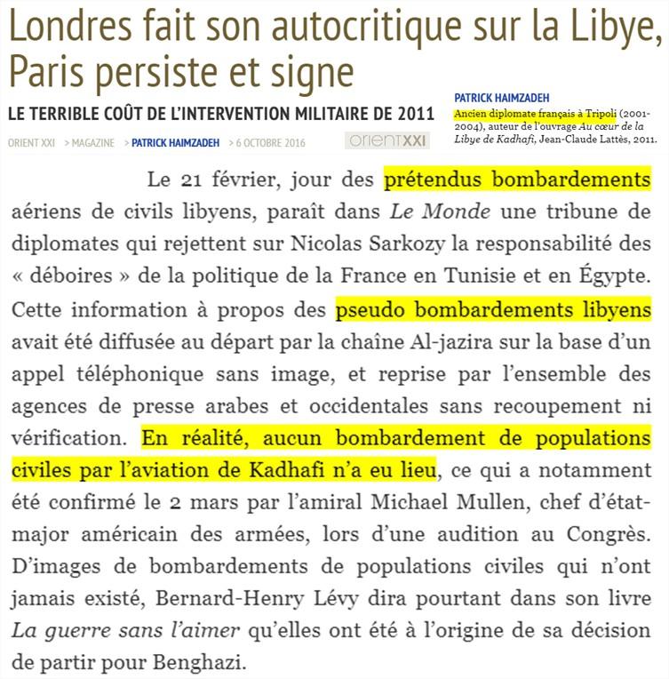 Khadafi Londres autocritique