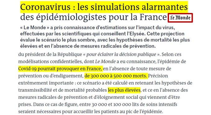 Coronavirus : les simulations alarmantes des épidémiologistes pour la France du risque maximal 50 % de la population atteinte, 300 000 à 500 000 morts